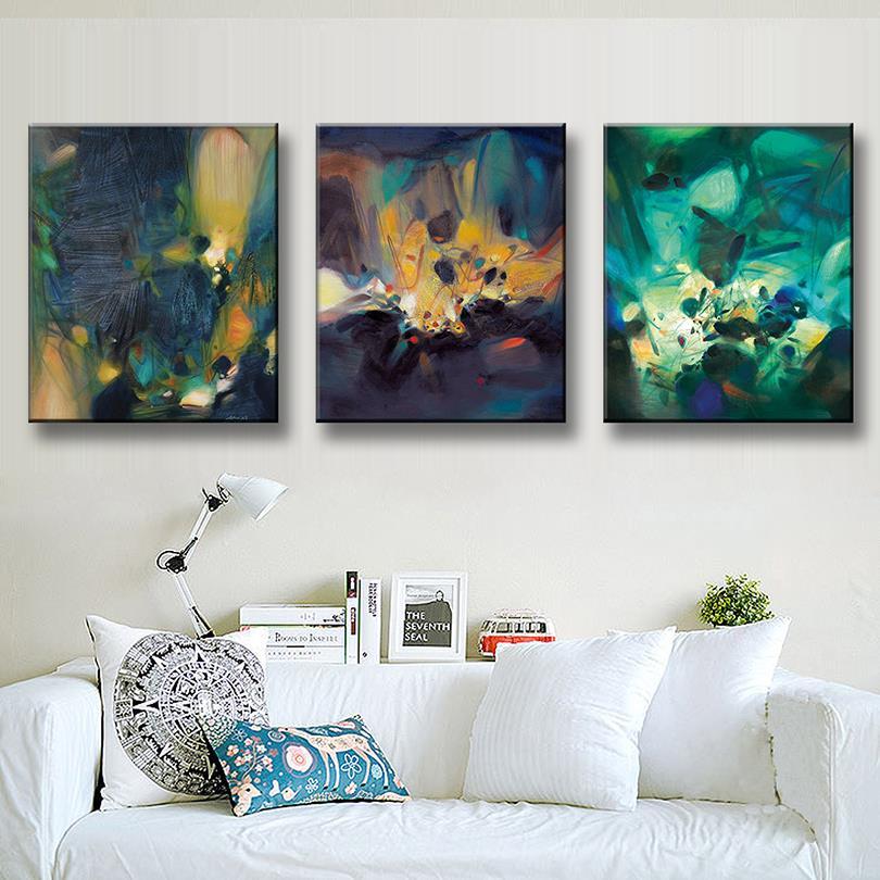 3 Teile/satz Abstrakter Künstler Grün Öl Kunst Malerei Drucke auf ...