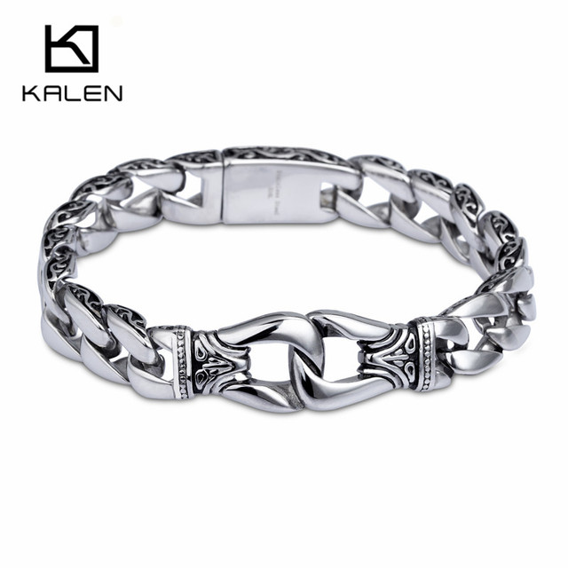 Kalen 316 Stainless Steel Silver Handcuff Bracelets For Men 22cm High Quality Punk Link Chain Wrist