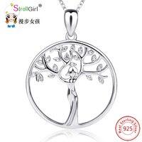 StrollGirl 925 Sterling Silber Kette Anhänger Halskette Modeschmuck Frauen Baum Halsketten & Anhänger Für Frauen