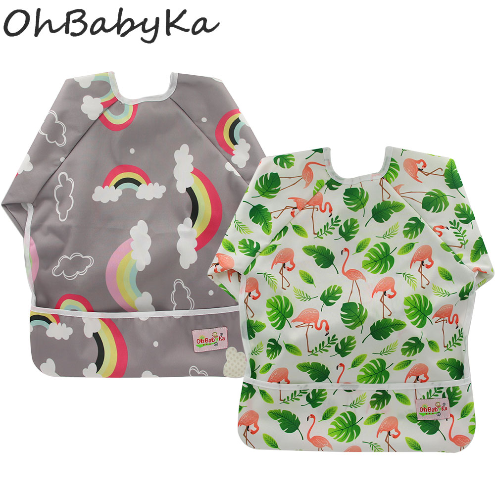 Boys' Baby Clothing Candid Ohbabyka Toddler Kids Waterproof Bib Long Sleeve Unicorn Flamingo Print Baby Bibs With Pocket Feeding Bib Girls Boys 2pcs/pack Excellent Quality