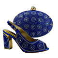 Italian Shoe With Matching Bag For Party Royal Blue Stones Wedding Shoes And Bag Set High Quality Women Pumps 89231-8