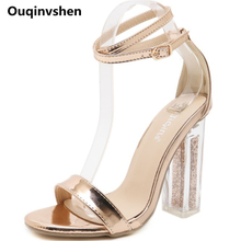Ouqinvshen Transparent Heels Summer Sandals Gold Buckle Strap Patent Leather Party Fashion Sandals Women Peep Toe Summer Shoes