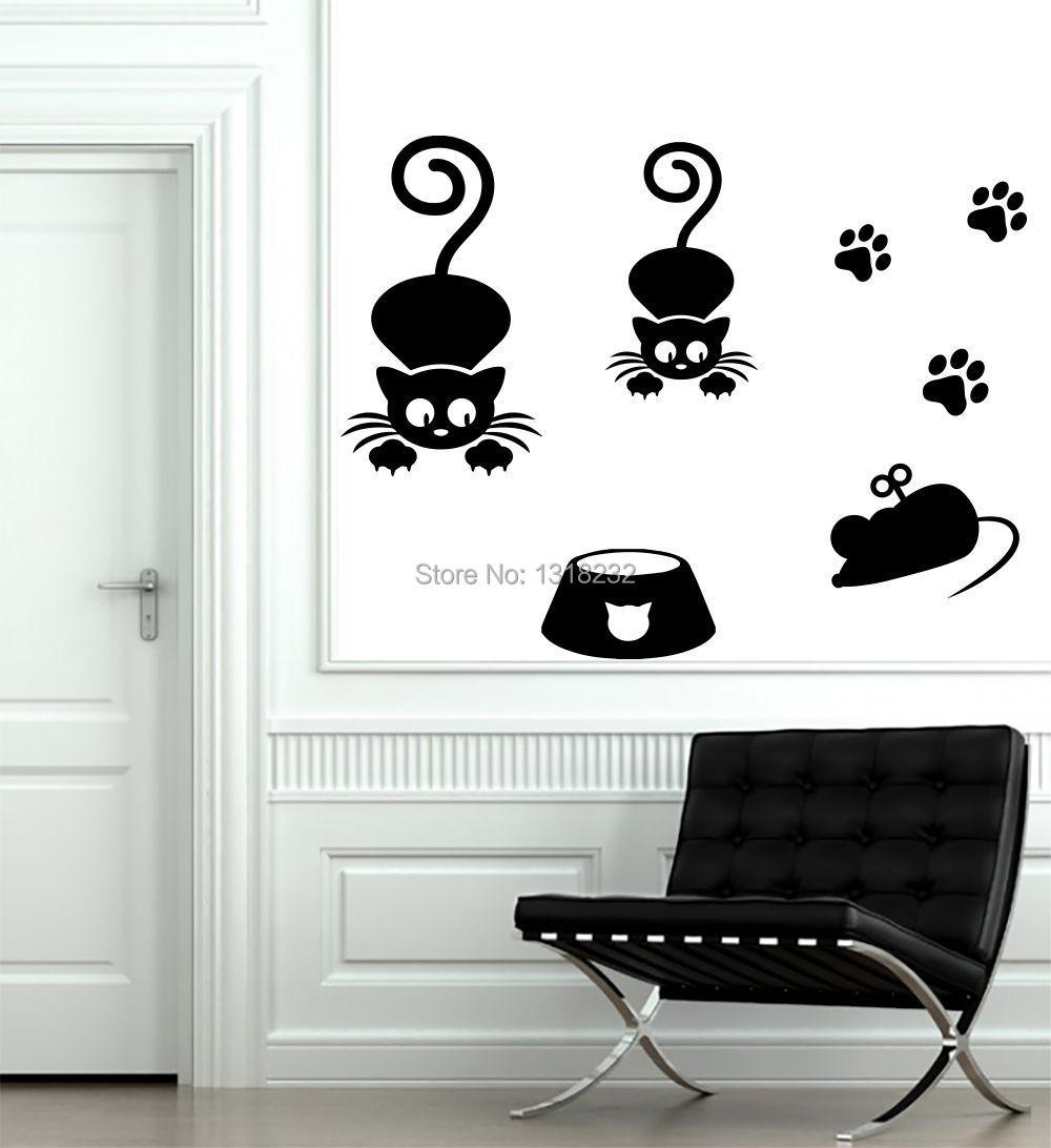 Fashion Animals Vinyl Wall Decal Cat Paws Decals Vinyl Sticker