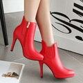 Mulheres botas De Salto Alto Sapatos de Casamento Da Noiva Vermelho Ankle Boot Dedo Apontado Martin Botas Femininas sy-1684