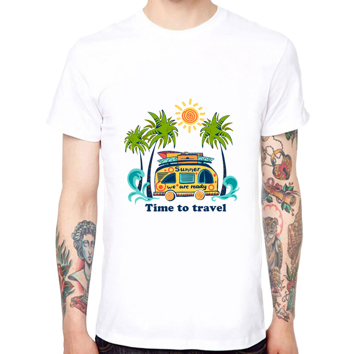 Time To Travel Mens Cotton Soft Funny Cool T-shirts Short Sleeve Tops Tee New Arrival Male Tees Casual Boy Tops Discounts