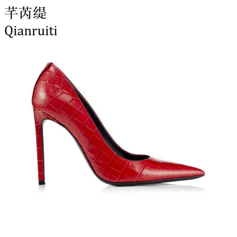 Qianruiti Red Faux Snake Printing Leather High Heels Shoes Sexy Pointed Toe Women Pumps Shallow Thin Heels Women Wedding Shoes qianruiti pink red yellow faux suede high heels women shoes sexy pointed toe bridal wedding shoes 12cm thin heels women pumps