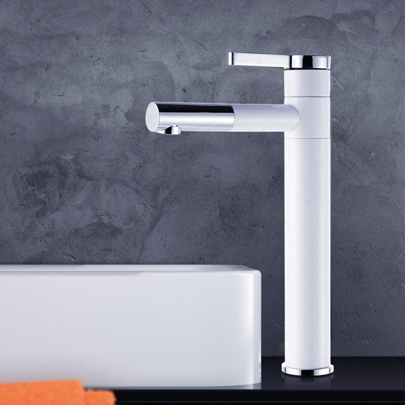Robinet de lavabo Antique universel en laiton peinture robinet blanc pour cuisine monocommande trou classique montage sur pont mélangeur robinets d'eau - 3