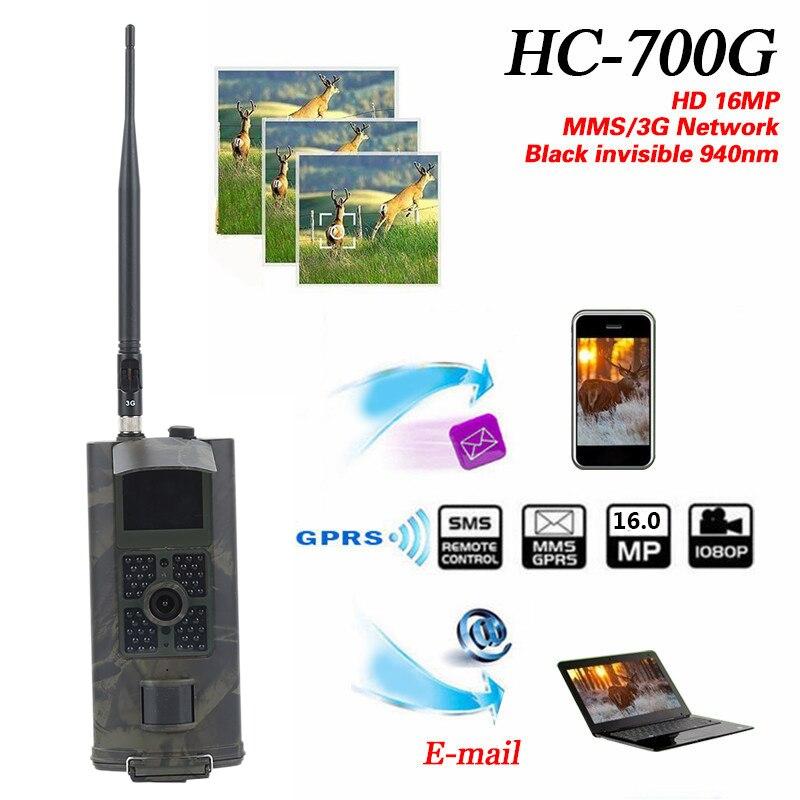 Caméra de chasse Skatolly 3G HC700G HD 16MP pièges Photo GPRS MMS SMTP SMS 1080 P caméra de Vision nocturne étanche 940nm