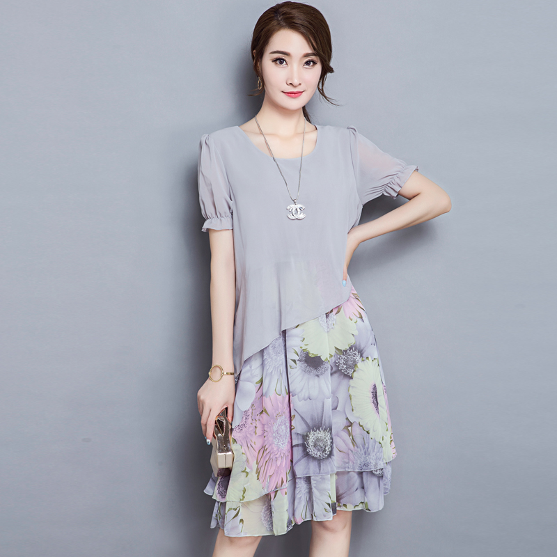 In the summer the new fertilizer plus-size women's long fat MM show thin chiffon dress fat younger sister
