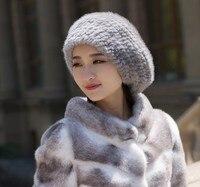 Mink woven beret autumn and winter women warm hat wool hat