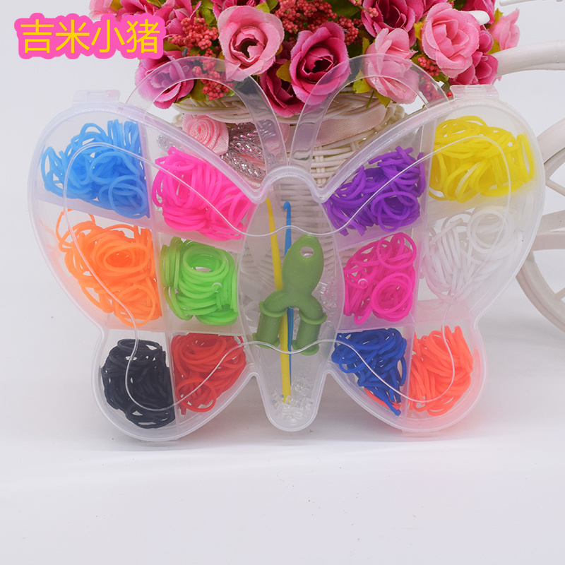 600pcs Rubber Loom Bands Toys For Children Girl Gift DIY Bracelets Hair Band Butterfly Kids Kits Craft Lacing Toy Hook Loom Set
