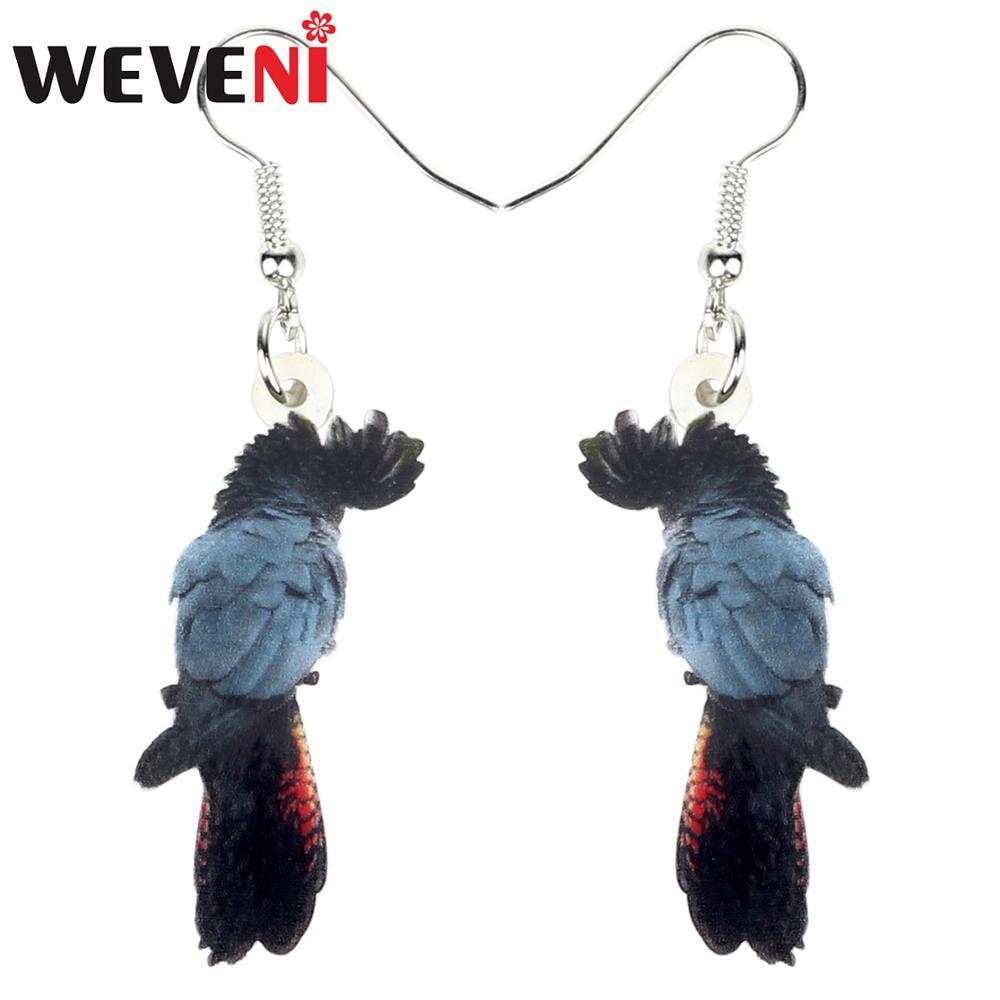 Acrylic Colorful Parrot Pendant Earring Ear Drop Stud Women Fashion Jewelry Pair
