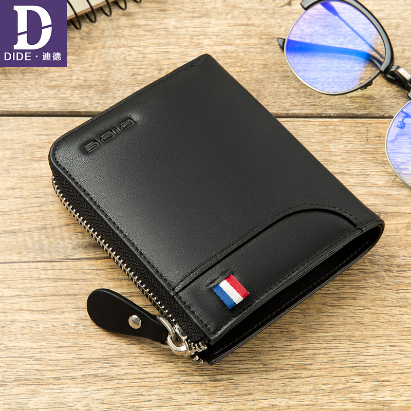 DIDE 100% Genuine Leather wallet men Card Holder Short Wallet women Luxury Brand Casual Fashion Wallets Zipper Coin Purse 775