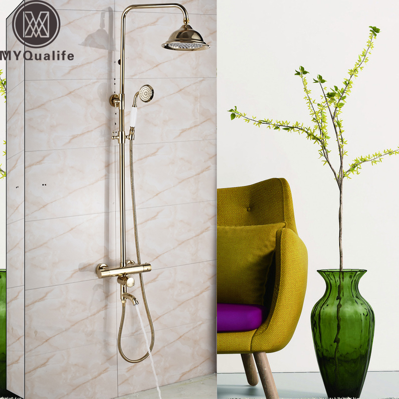 Polished Gold Bathroom Thermostatic Shower Faucet Set In Wall Bath Shower Mixers with Hand Shower Tub Spout 8 Rainfall Head auto thermostatic control bath