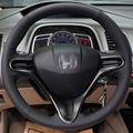 Hand-stitched Black Leather Steering Wheel Cover for Honda Civic Old Civic 2004-2011