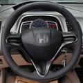 Mão-costurado Couro Preto Cobertura de Volante para Honda Civic Civic Velho 2004-2011