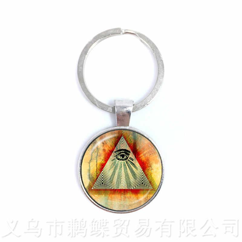 Pirâmide do egito Annuit Coeptis Olho da Providência Sinal Maçônico Llluminati Geometria Sagrada Chaveiros Chaveiro Presente Para Amigos