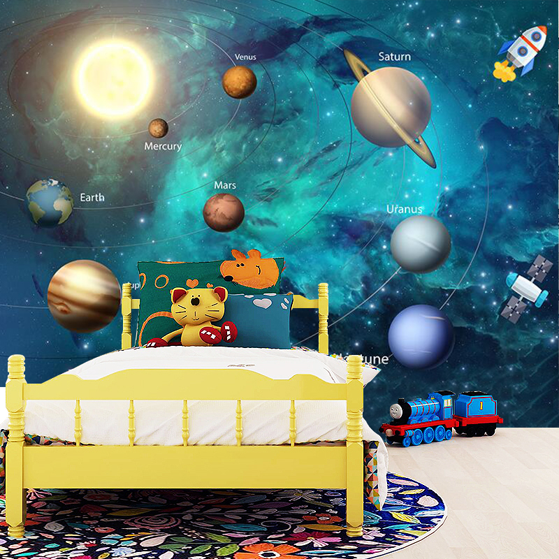 3D Wallpaper Space Universe Children Room Starry Sky Planet Wallpaper 3D Stereo Cartoon Mural Papel De Parede Infantil 3D Fresco