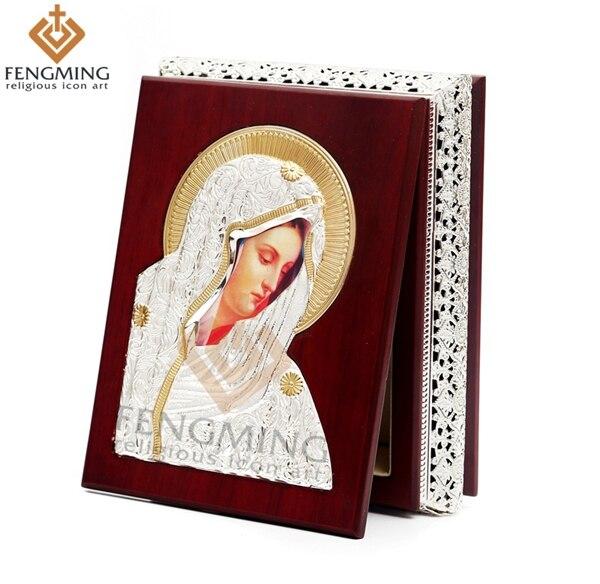 2016 новий міцний дерев'яний ящик діва марія метал релігійні іконки на подарунок ювелірні подарунки релігійні предмети церковний прилад дрібничка