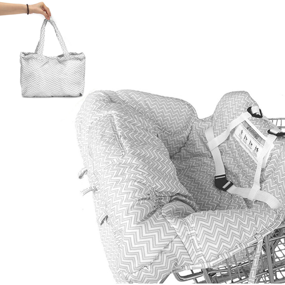 Gray Portable Baby Shopping Cart Cover Pad Safety Soft Comfortable High Chair Seat Pad Cover Foldable
