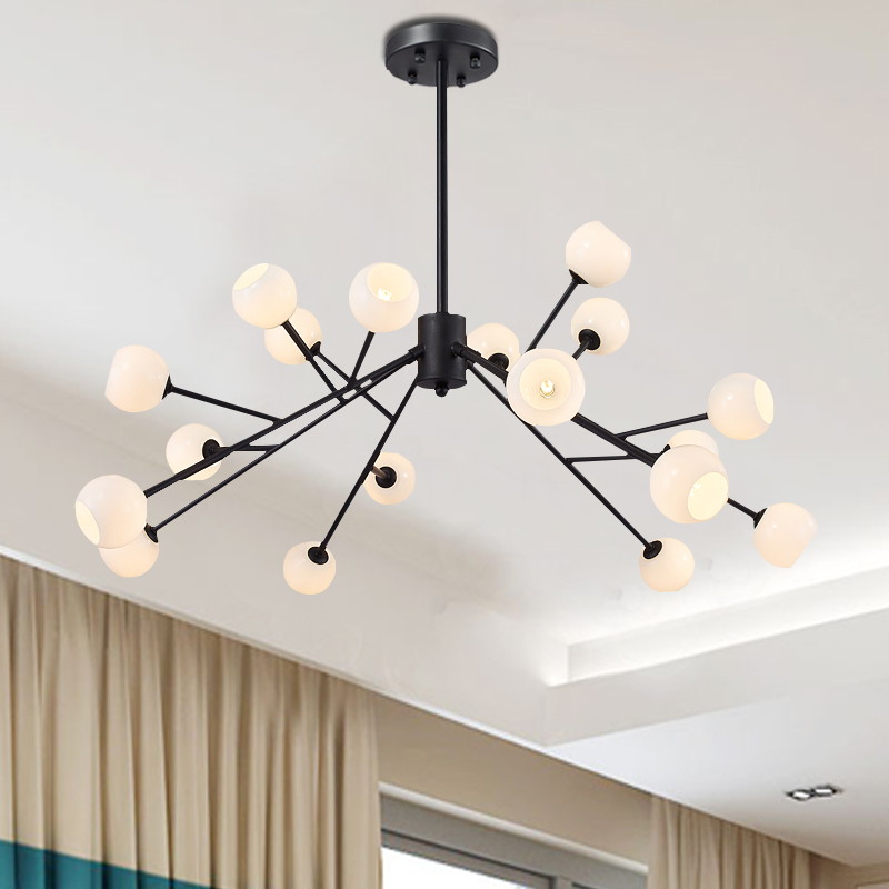 modern 18 heads black pendant lamps creative Beanstalk dining room bedroom glass ball iron decoration pendant light ZA8183 modern shade glass artistic pendant golden and black e14 bulb modern lighting sphere beanstalk molecular mall shop decoration