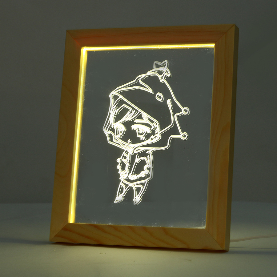 FL-710 3D Photo Frame Illuminative LED Night Light Wooden Girl Desktop Decorative USB Lamp In-Outdoor Fairy Decoration Lights