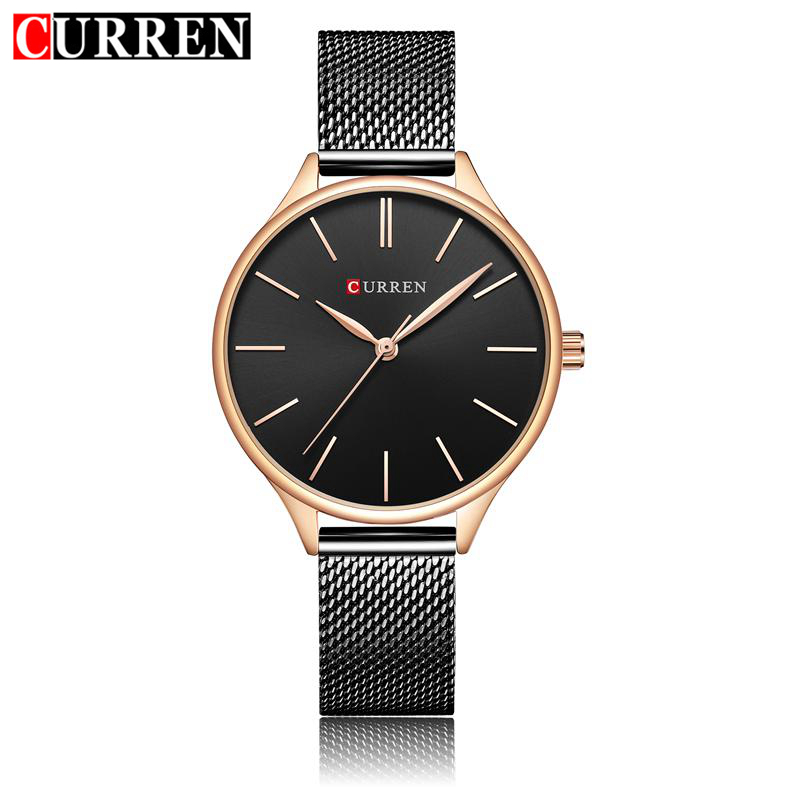 CURREN Mesh Stainless Steel Wristwatch Bracelet Quartz Watch Woman Ladies Watches Clock Female Dress Relogio Feminino 9024 julius quartz watch ladies bracelet watches relogio feminino erkek kol saati dress stainless steel alloy silver black blue pink
