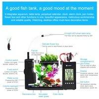 Mini Aquarium Fish Tank USB Aquarium With LED Lamp Light LCD Display Screen and Calendar Clock Fish Tank Aquarium Fish Tanks