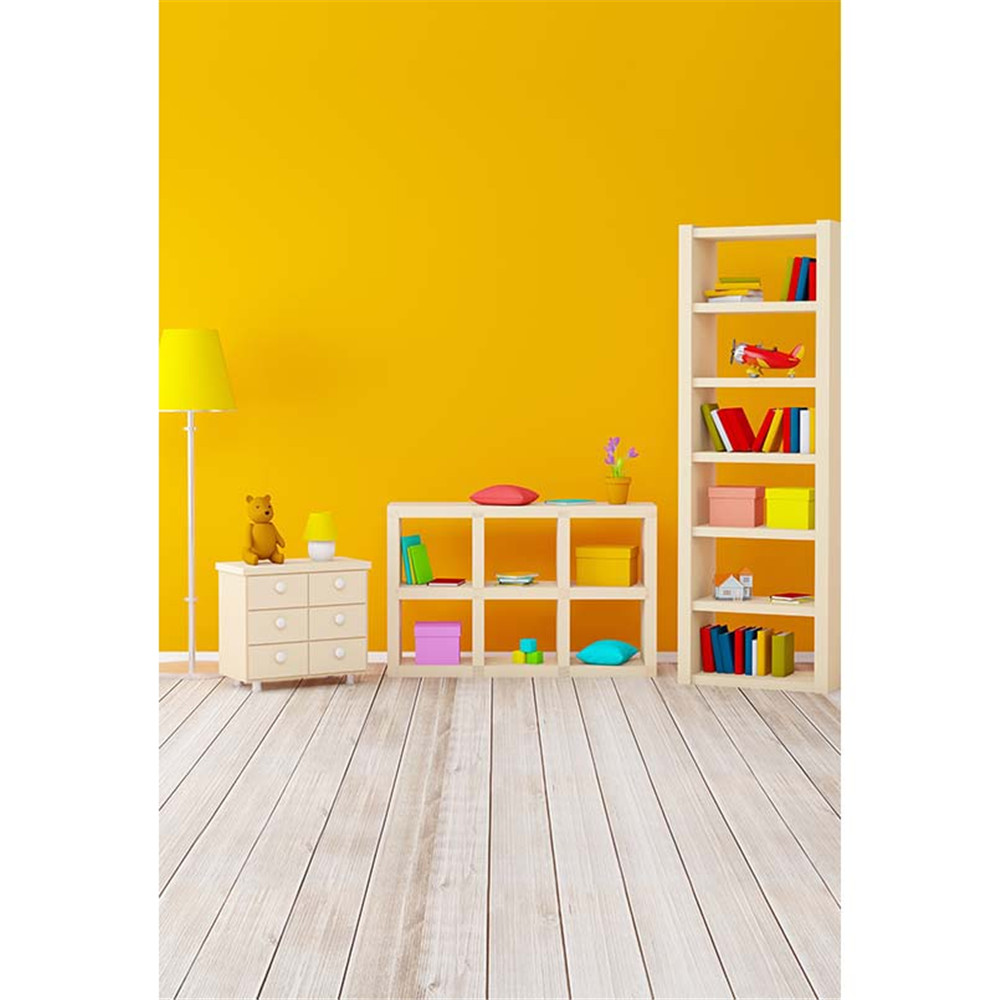 Indoor Baby\'s Room Photography Background Solid Yellow Color Wall ...