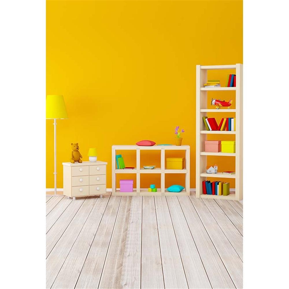 yellow background wall solid indoor books printed bookshelf backdrop wood floor drawers zoom