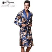 Luxury Men Robe 2017 Couple Bathrobe Brand Faux Silk Robes Long Home Clothing Male Sleep Robe