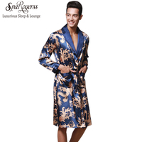 Luxury Men Robe 2017 Couple Bathrobe Brand Faux Silk Robes Long Home Clothing Male Sleep Robe