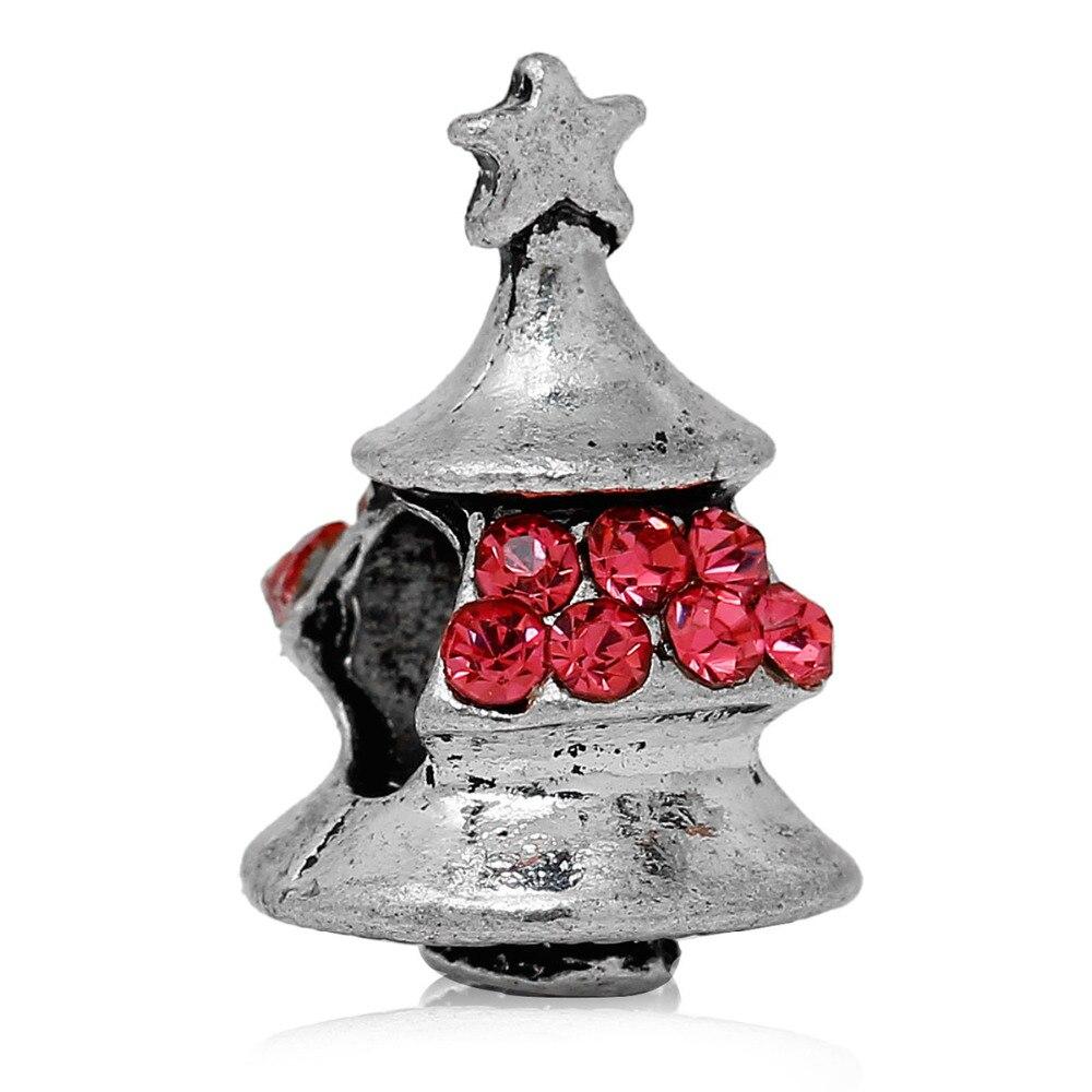 89bc7100a4d6 Doreen Cuentas Europea Cuentas plata antigua Navidad árbol estrella  rosa claro rojo azul rhinestone 16x11 MM
