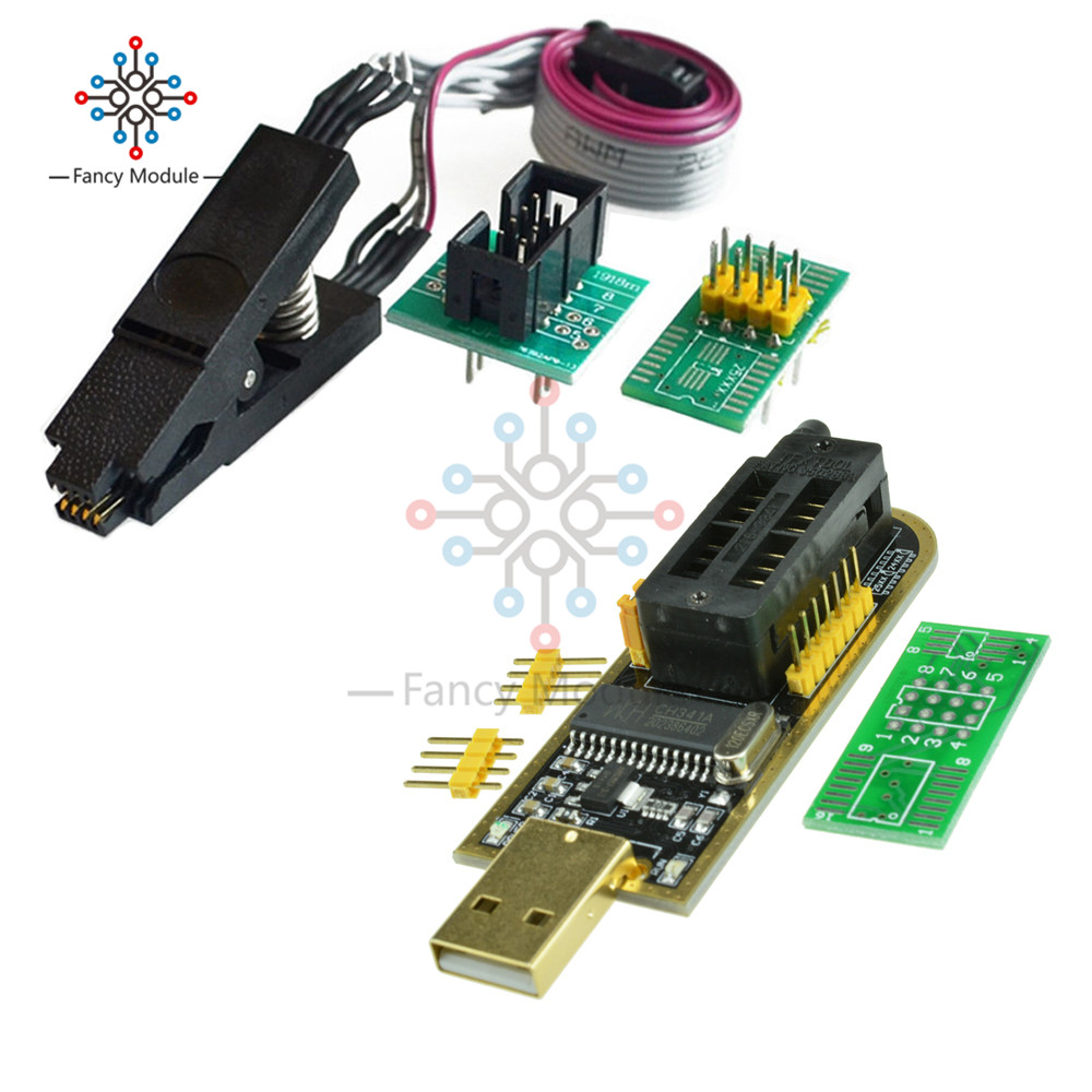 SOIC8 SOP8 Test Clip for EEPROM 93CXX / 25CXX / 24CXX with CH341A 24 25 Series EEPROM Flash BIOS USB Programmer ModuleSOIC8 SOP8 Test Clip for EEPROM 93CXX / 25CXX / 24CXX with CH341A 24 25 Series EEPROM Flash BIOS USB Programmer Module