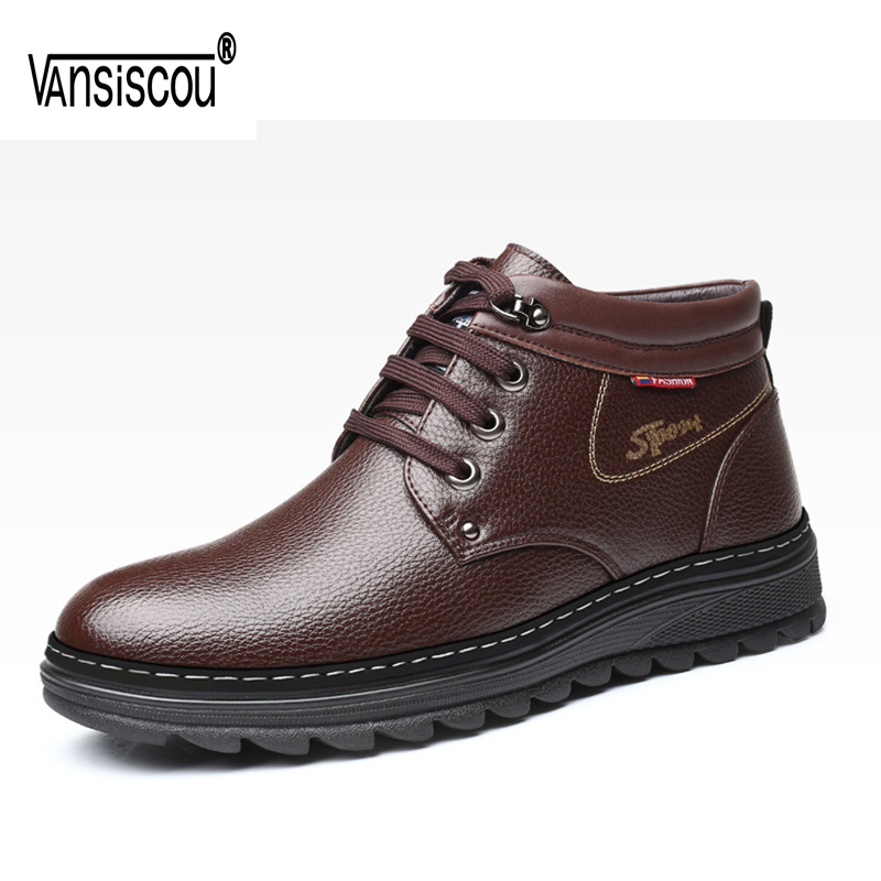 VANSISCOU Brand Winter Men Genuine Leather Shoes Fashion Warm Working Plush Ankle Boots Casual Lace Up Flats Male Snow Boots muhuisen brand winter men genuine leather shoes fashion warm working plush ankle boots casual lace up flats male snow boots