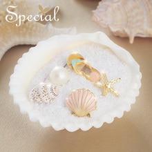 Special Brand Fashion Gold Enamel Stud Earrings Ocean Freestyle Rhinestones Ear Pins Pearl Jewelry Gifts for Women S1794E