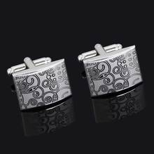 Laser Sculpture Fashion Cufflinks For Men Gift Brand Silver Colour Shirt Cuff Button High Quality Free Shipping Metal Cuff Link цены онлайн
