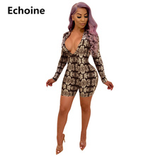 Women Sexy Bodycon Playsuit Snake Skin Print V-neck Slim Long Sleeve Jumpsuit Woman Club Outfit Ladies Party