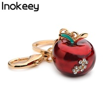 Inokeey Alloy Red Apple Key Chain Women Metal Green Rhinestone Fruits Plants Accessories Bag Key Ring