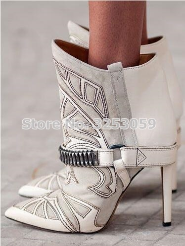 Women Chic Wine Red Black Blue Suede Patchwork Dress Boots Embroidered Buckle Strap Thick High Heel Ankle Boots Gladiator Boots