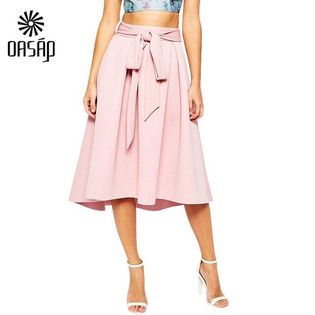 Oasap A linha alargamento plissada Bow cintura Saias Femininas Street Style mulheres sólidos rosa preto liso ocasional do Vintage Midi saia - 88317