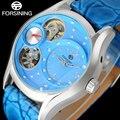 FORSINING мода женщины кварцевые часы ремень из натуральной кожи роскошные дамы горный хрусталь часы женские скелет синий наручные часы