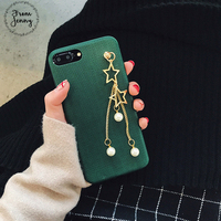 Jenny Offer Luxury Green Pearl Star Pendant Soft Case For IPhone7 6s 6 Plus Personality Female