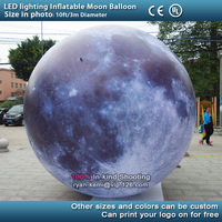 Free shipping 10ft 3m LED lighting inflatable moon balloon outdoor LED lighted inflatable moon sphere