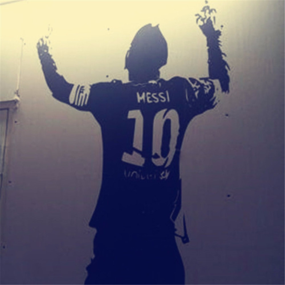 Zwart PVC Enorme Football Ster Lionel Messi Figuur Muursticker Vinyl DIY Kids Woonkamer Muursticker Decals Voor Voetbal liefhebbers 3