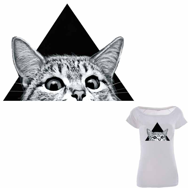 Colife Triangle Cat Patches voor kleding 25 * 18cm A-level wasbare Patch Iron On transfers Eenvoudig afdrukken door huishoudelijke strijkijzers