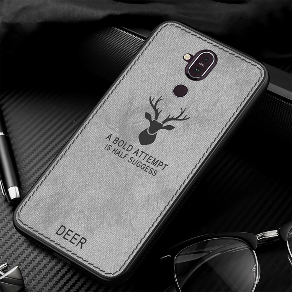 For Nokia 8.1 Case Vintage Fabric Leather Deer Pattern Cover For Nokia 7 Plus 5.1 6.1 X7 Cloth Case 6.1 Plus Back Cover (E1226)