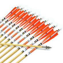 12pcs New 31″Wooden Arrows with 5″orange Turkey Feather Broadhead for Recurve bow