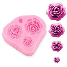 Pink romantic rose shape cooking tools silicone mold fondant DIY cake decoration