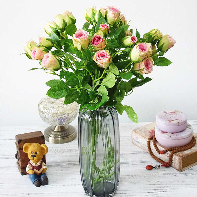 Silk Rose Artificial Flowers With 4 Heads Long Stem Plastic Branches For Wedding Hotel Decor 1